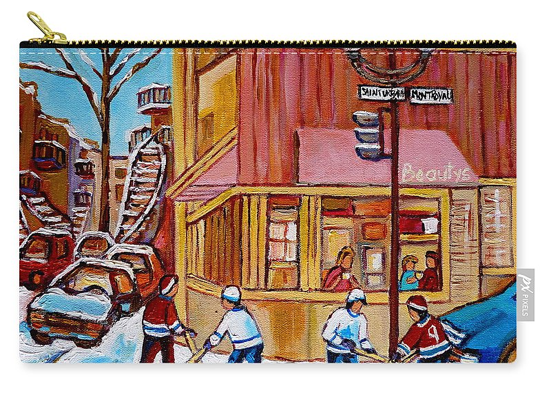 Montreal Carry-all Pouch featuring the painting City Of Montreal St. Urbain And Mont Royal Beautys With Hockey by Carole Spandau