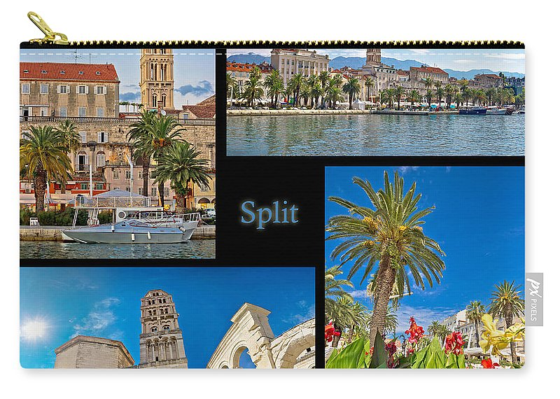 Collage Carry-all Pouch featuring the photograph City Of Split Nature And Architecture Collage by Brch Photography