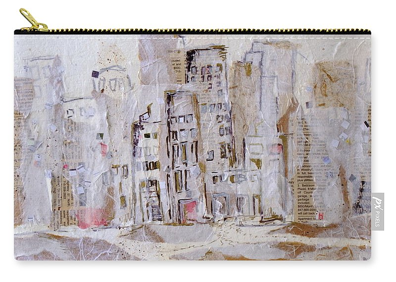 City Carry-all Pouch featuring the mixed media City On The River by Susie Stockholm