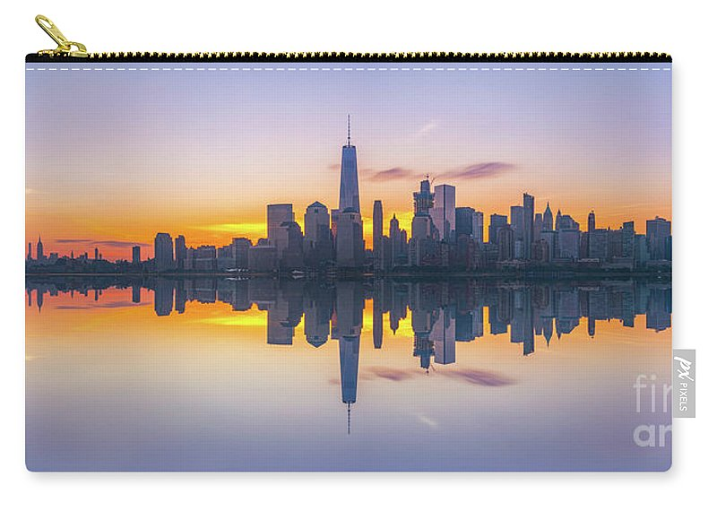 Lower Manhattan Carry-all Pouch featuring the photograph City Skyline Reflections Panorama by Michael Ver Sprill