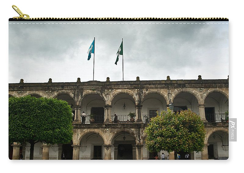 City Carry-all Pouch featuring the photograph City Square Antigua Guatemala by Douglas Barnett