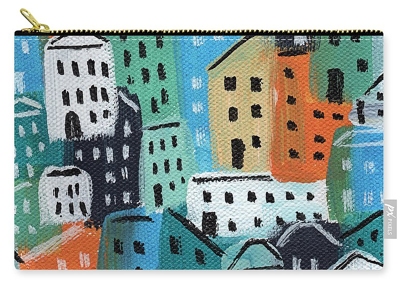 City Carry-all Pouch featuring the painting City Stories- Blue And Orange by Linda Woods