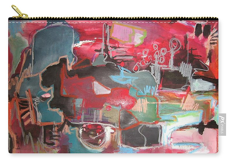 Abstract Paintings Carry-all Pouch featuring the painting Citysacpe At Twilight Original Abstract Colorful Landscape Painting For Sale Red Blue by Seon-Jeong Kim