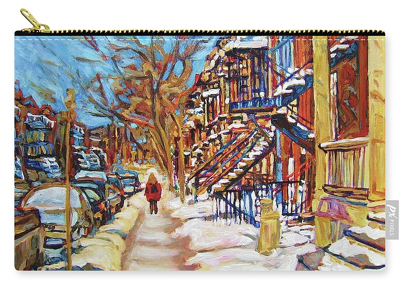 Montreal Carry-all Pouch featuring the painting Cityscene In Winter by Carole Spandau