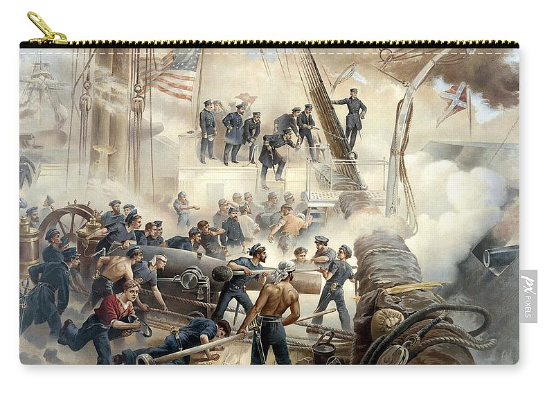 Civil War Carry-all Pouch featuring the painting Civil War Naval Battle by War Is Hell Store