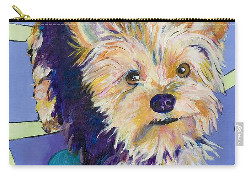 Pet Portraits Carry-all Pouch featuring the painting Claire by Pat Saunders-White