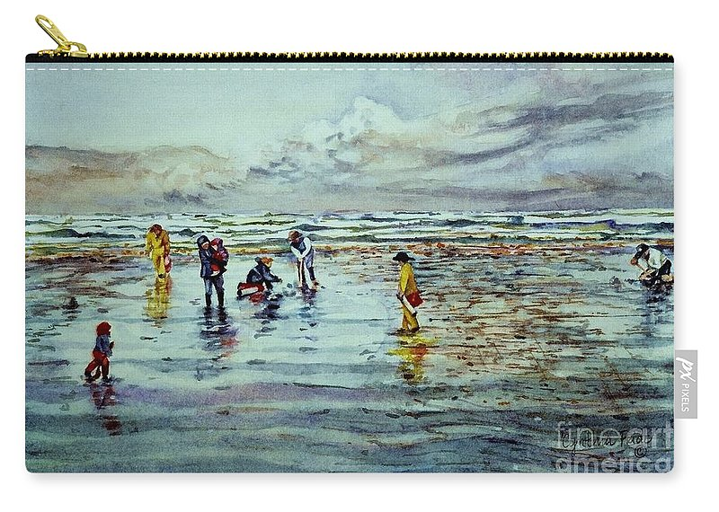 Cynthia Pride Watercolor Painting Carry-all Pouch featuring the painting Clamdigging Family by Cynthia Pride