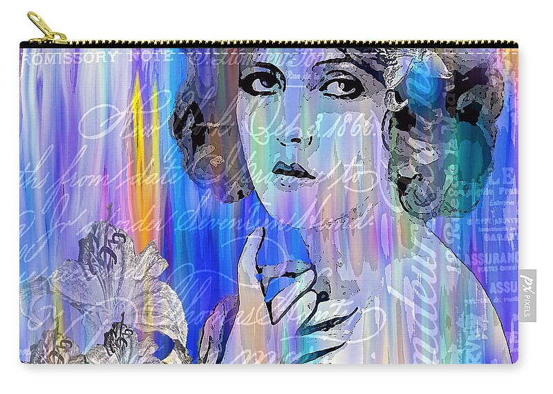 Clara Bow Carry-all Pouch featuring the painting Clara Bow I'll See You In New York by Saundra Myles