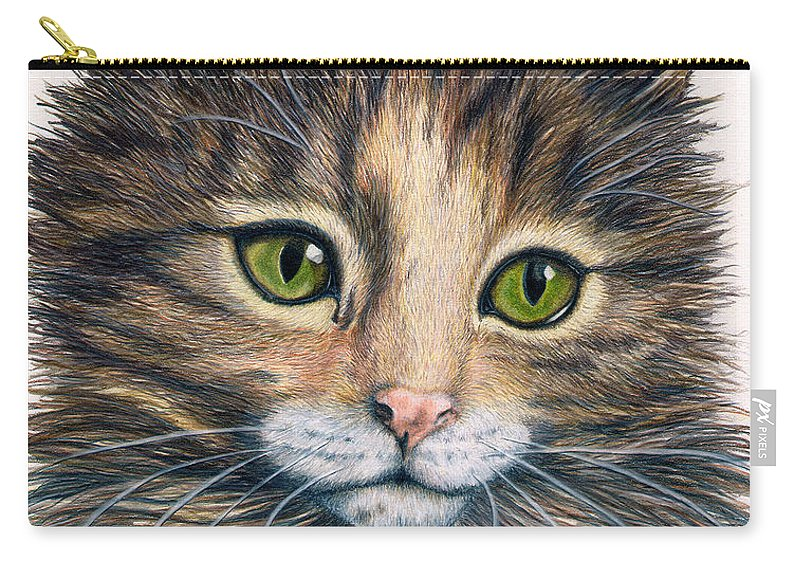 Cat Carry-all Pouch featuring the drawing Clarice by Kristen Wesch