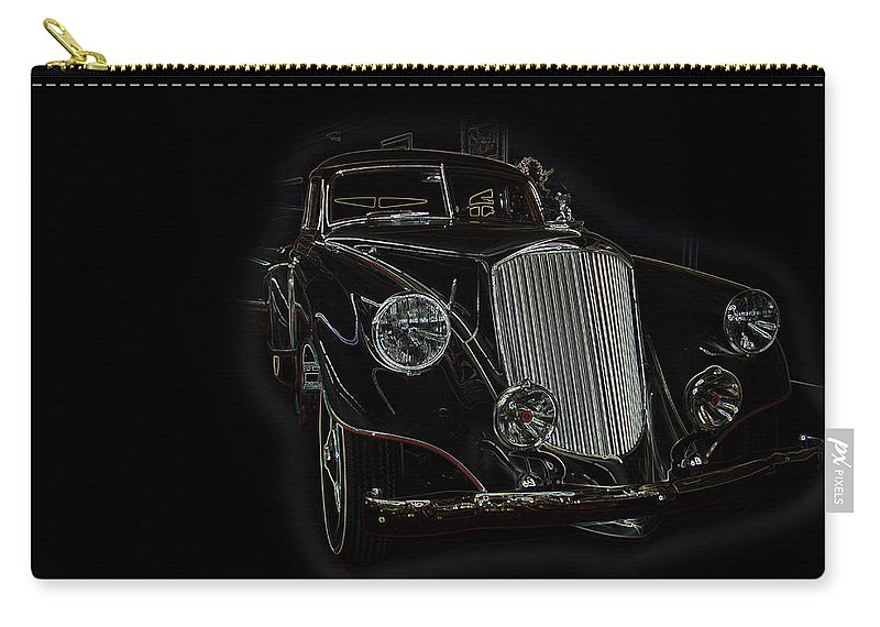 Classic Car Antique Show Room Vehicle Glowing Edge Black Light Chevy Dodge Ford Ride Carry-all Pouch featuring the photograph Classic 4 by Andrea Lawrence