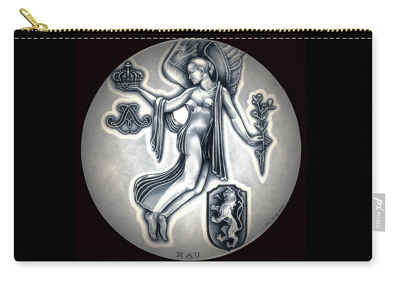 Coin Carry-all Pouch featuring the drawing Classic Belgium Royal Crown by Fred Larucci