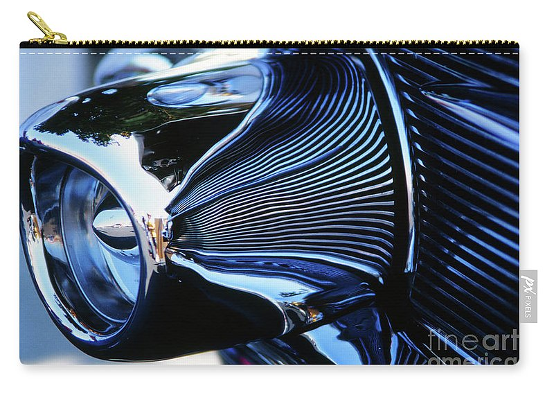 '56 Carry-all Pouch featuring the photograph Classic Car Chrome Abstract Reflected Grill by Rick Bures