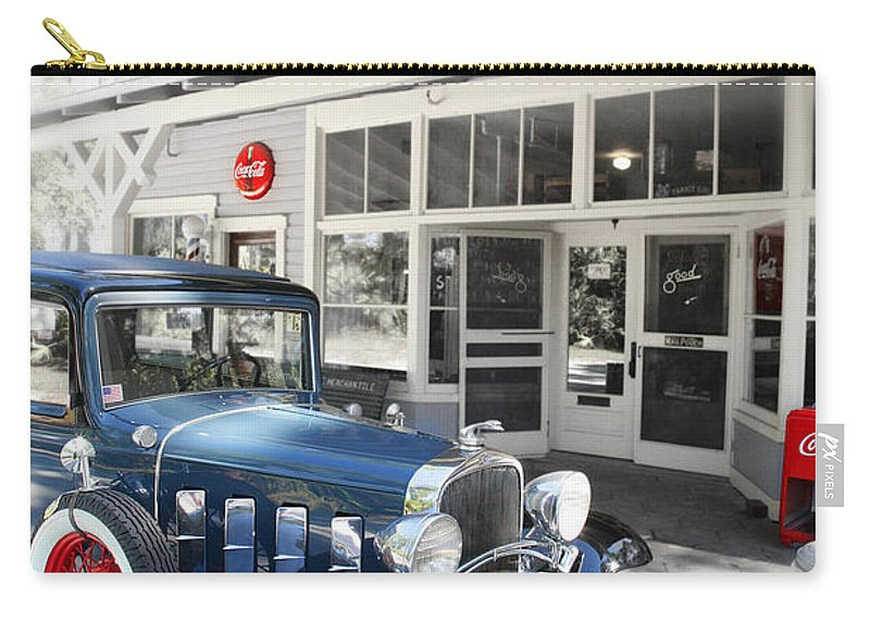 Chevy Carry-all Pouch featuring the photograph Classic Chevrolet Automobile Parked Outside The Store by Mal Bray