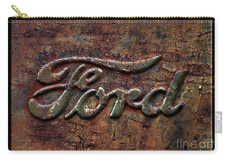 Ford Carry-all Pouch featuring the photograph Classic Rusty Ford Pickup Truck Logo Detail by John Stephens