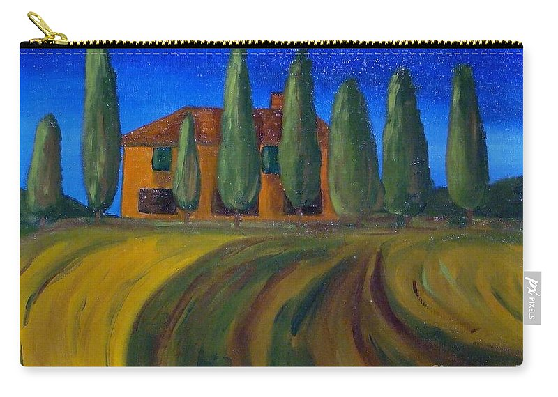 Tuscany Carry-all Pouch featuring the painting Classic Tuscan Sunset by Laurie Morgan