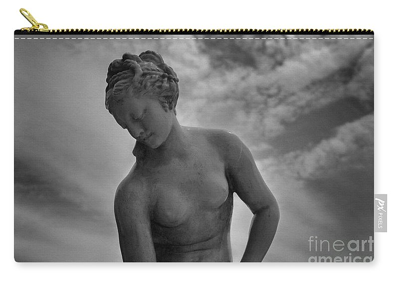 B&w Carry-all Pouch featuring the photograph Classic Woman Statue by Setsiri Silapasuwanchai