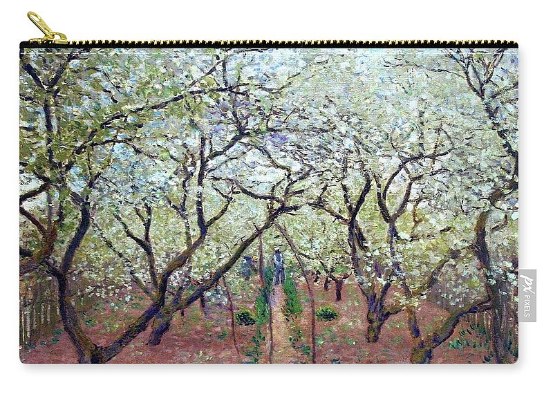Claude Monet Orchard In Bloom Carry-all Pouch featuring the painting Claude Monet Orchard In Bloom by MotionAge Designs