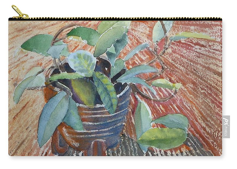 Vine Carry-all Pouch featuring the painting Clay Pot by Ruth Kamenev