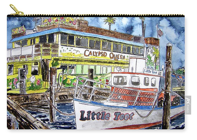 Seascape Carry-all Pouch featuring the painting Clearwater Florida Boat Painting by Derek Mccrea