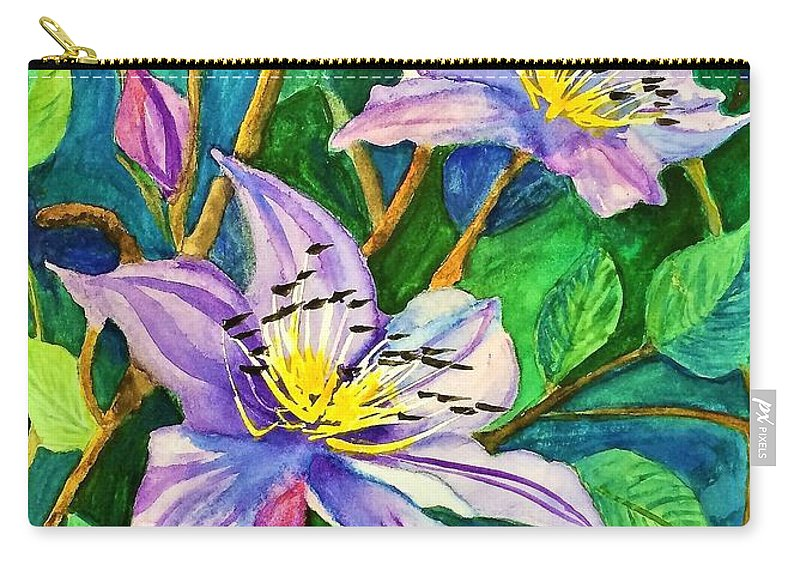 Purple Carry-all Pouch featuring the painting Clematis For Elsie by Terri Huffman