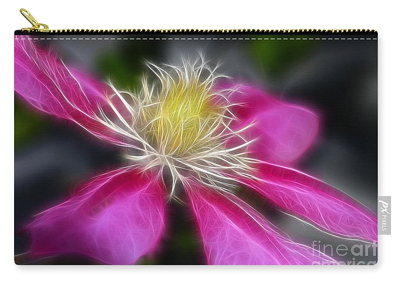 Flower Carry-all Pouch featuring the photograph Clematis In Pink by Deborah Benoit