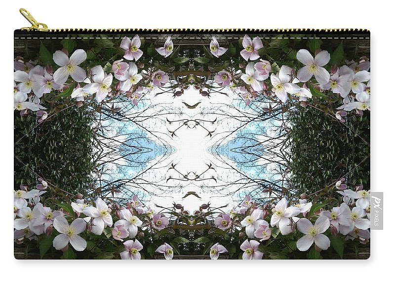 Clematis Carry-all Pouch featuring the photograph Clematis Sky Window by Julia Woodman