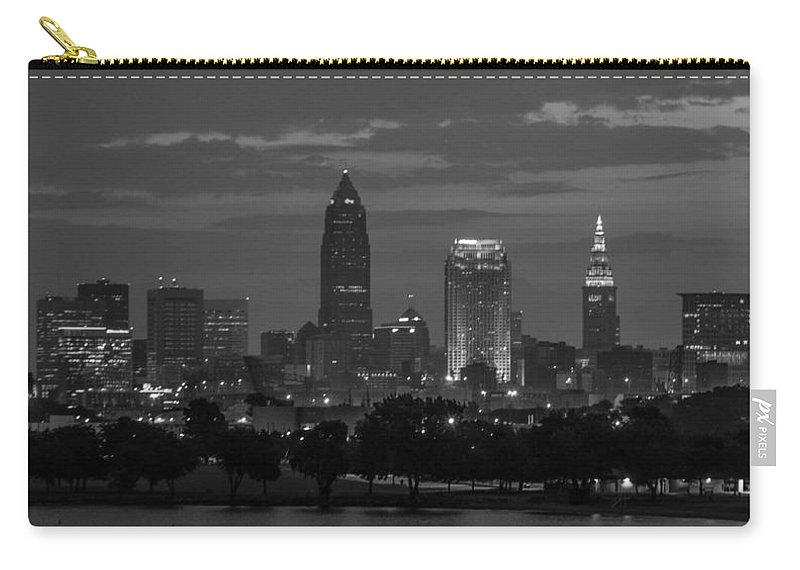 Cleveland Carry-all Pouch featuring the photograph Cleveland After Dark by Stewart Helberg