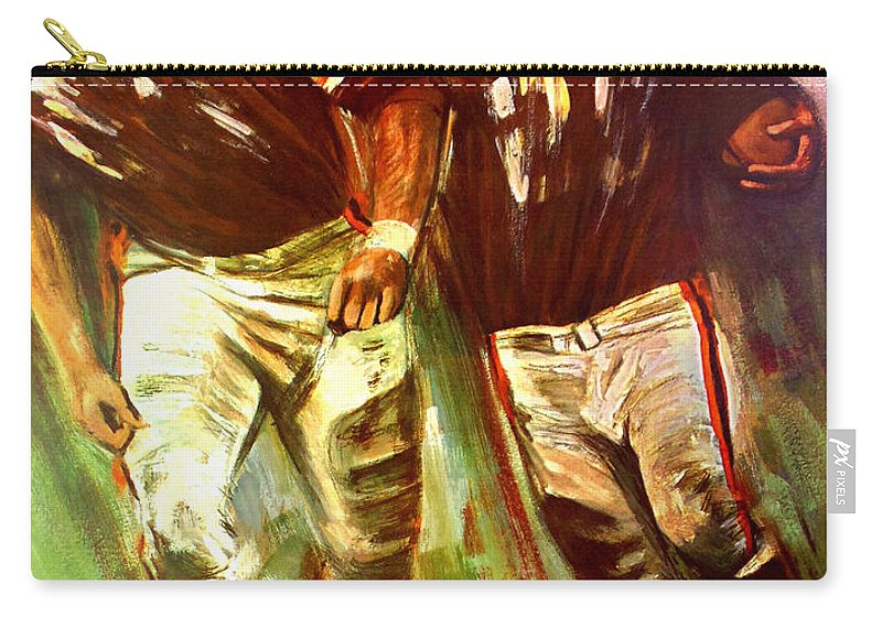 Cleveland Browns Carry-all Pouch featuring the painting Cleveland Browns 1965 Cb Helmet Poster by John Farr