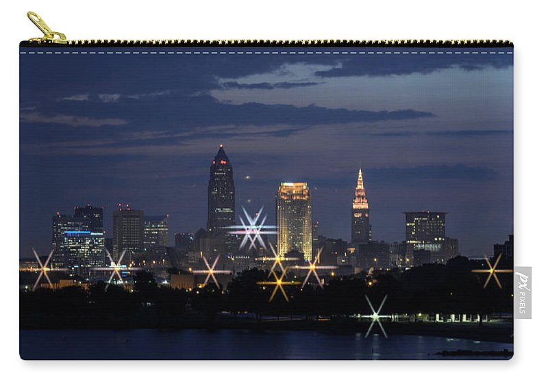 Cleveland Carry-all Pouch featuring the photograph Cleveland Starbursts by Stewart Helberg