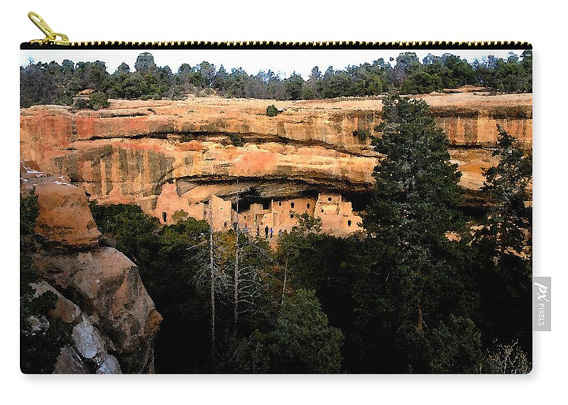 Cliff Dwellings Carry-all Pouch featuring the painting Cliff Dwelling by David Lee Thompson