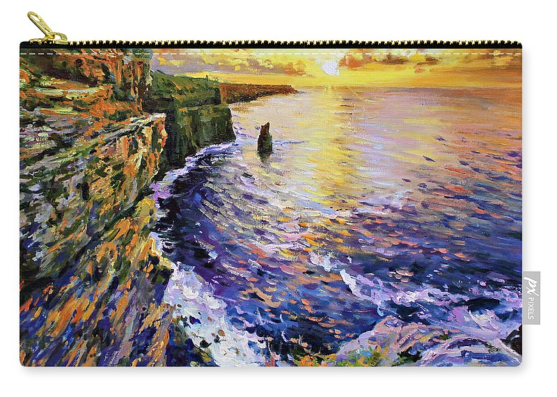 Cliffs Of Moher Carry-all Pouch featuring the painting Cliffs Of Moher At Sunset by Conor McGuire