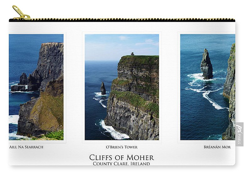 Irish Carry-all Pouch featuring the photograph Cliffs Of Moher Ireland Triptych by Teresa Mucha