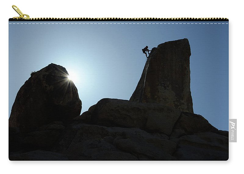 Joshua Tree National Park Carry-all Pouch featuring the photograph Climbing In Joshua Tree by Bob Christopher
