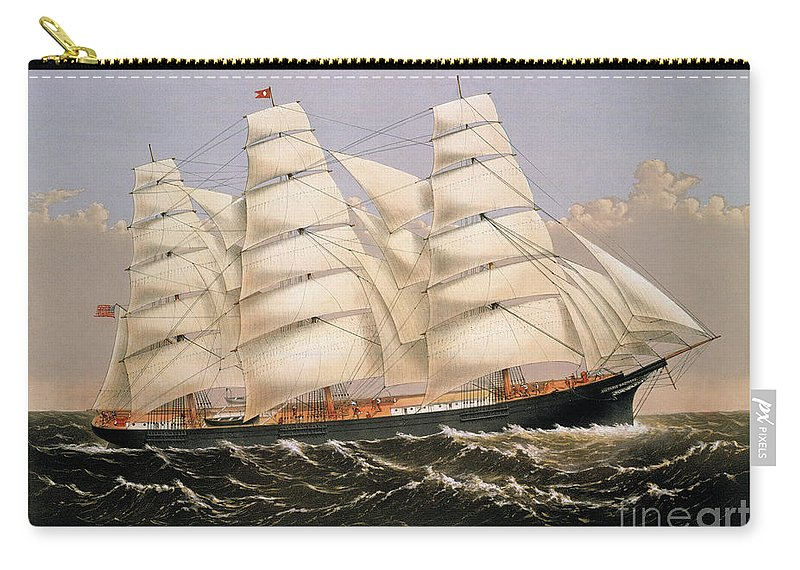 1875 Carry-all Pouch featuring the photograph Clipper Ship, 1875 by Granger