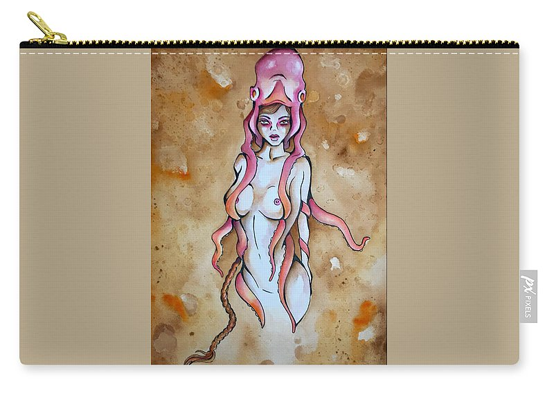 Octopus Carry-all Pouch featuring the painting Cloak by Nicole Bresner