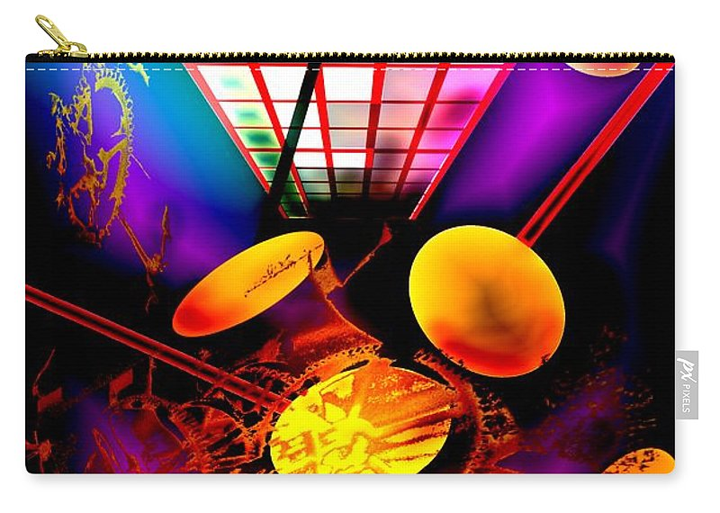 Clock Carry-all Pouch featuring the digital art Clock-sync by Helmut Rottler