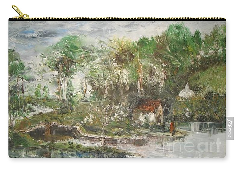 Realistic Carry-all Pouch featuring the painting Close To The Retreat by Rushan Ruzaick