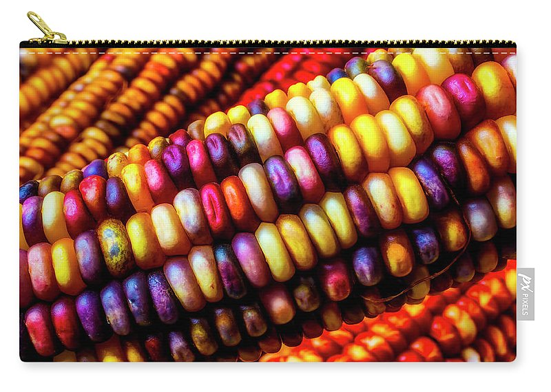 Indian Carry-all Pouch featuring the photograph Close Up Indian Corn by Garry Gay