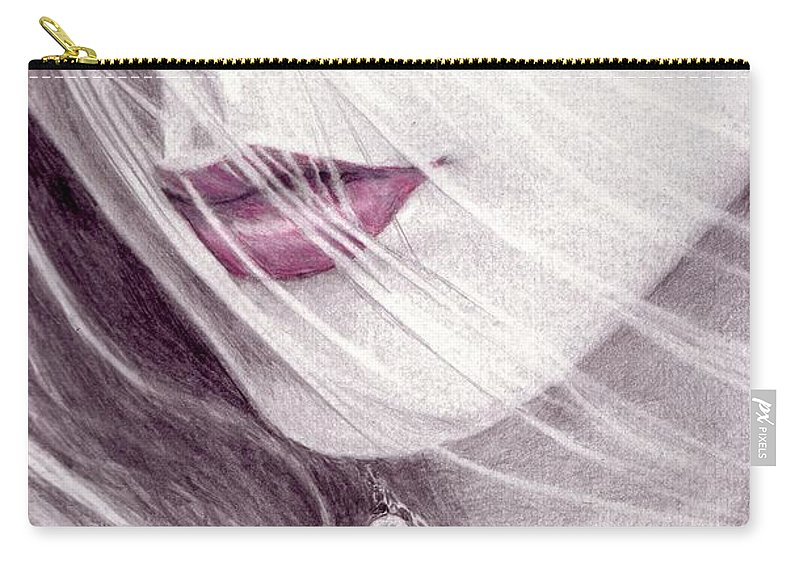 #lips Carry-all Pouch featuring the mixed media Close Up by Kristopher VonKaufman