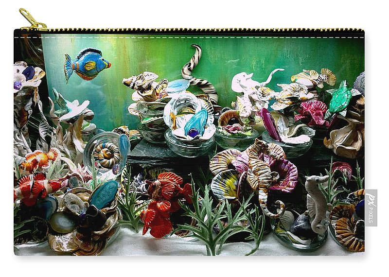 No Maintenance Aquariumn Blue Green Red Yellow Gold Silver Abstract Created Flower Color Colorful Fish Abstract Coral Imagery Animated Aquatic Carry-all Pouch featuring the mixed media Closer And Closer by Kirk Wieland