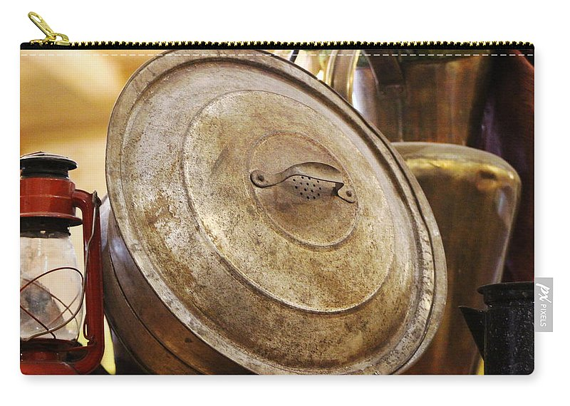 Hurricane Lamp Carry-all Pouch featuring the photograph Closeup of Antique Pot and Hurricane Lantern by Colleen Cornelius