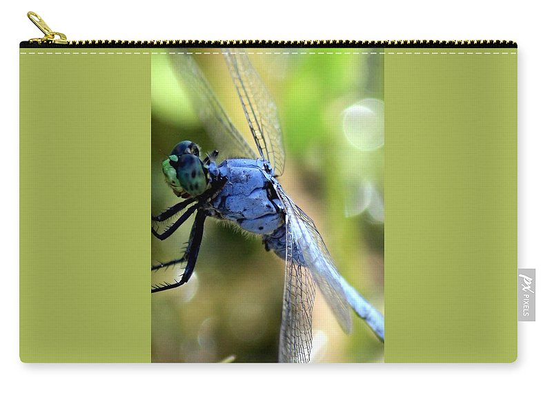 Ponds Carry-all Pouch featuring the photograph Closeup Of Blue Dragonfly by Carol Groenen