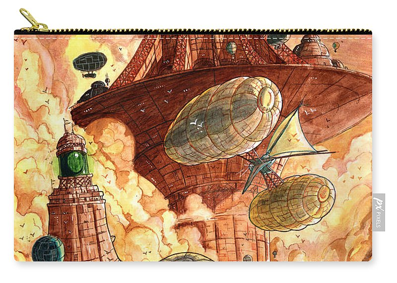 Steampunk Carry-all Pouch featuring the painting Cloud City by Luis Peres