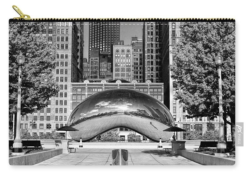 Chicago Carry-all Pouch featuring the photograph Cloud Gate Park Black And White by Christopher Arndt