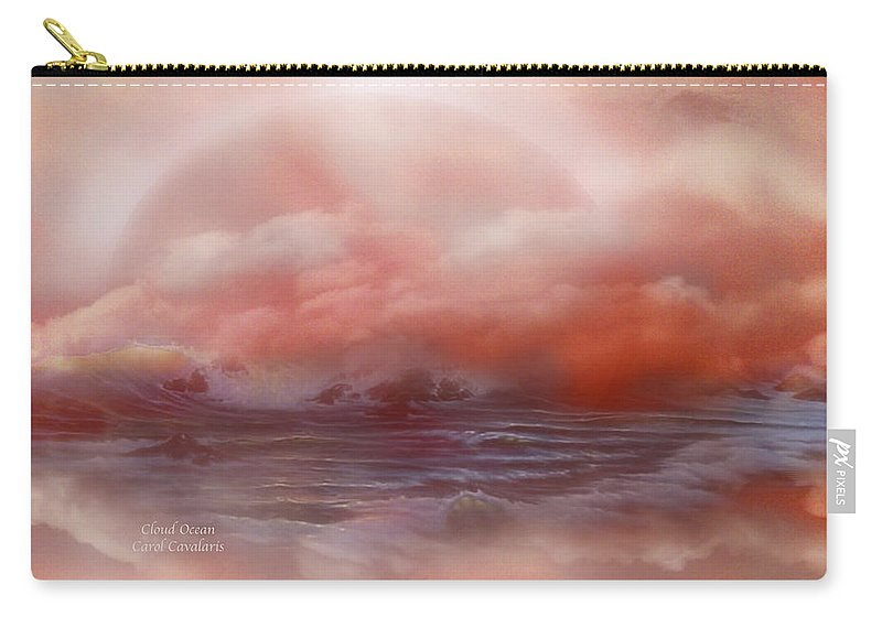 Ocean Carry-all Pouch featuring the mixed media Cloud Ocean by Carol Cavalaris