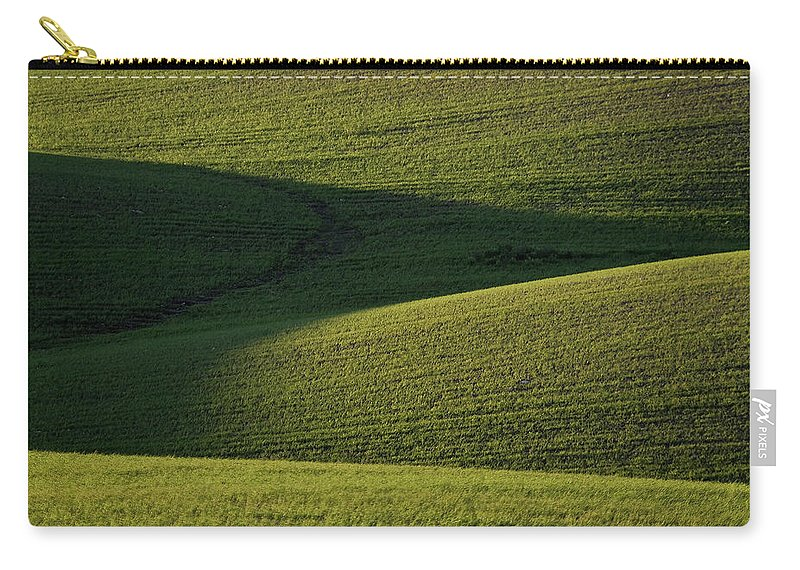 Rolling Carry-all Pouch featuring the digital art Cloud Shadows On New Growing Crop by Mark Duffy