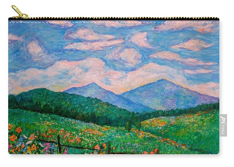 Kendall Kessler Carry-all Pouch featuring the painting Cloud Swirl over The Peaks of Otter by Kendall Kessler