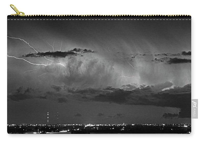 Bouldercounty Carry-all Pouch featuring the photograph Cloud To Cloud Lightning Boulder County Colorado Bw by James BO Insogna