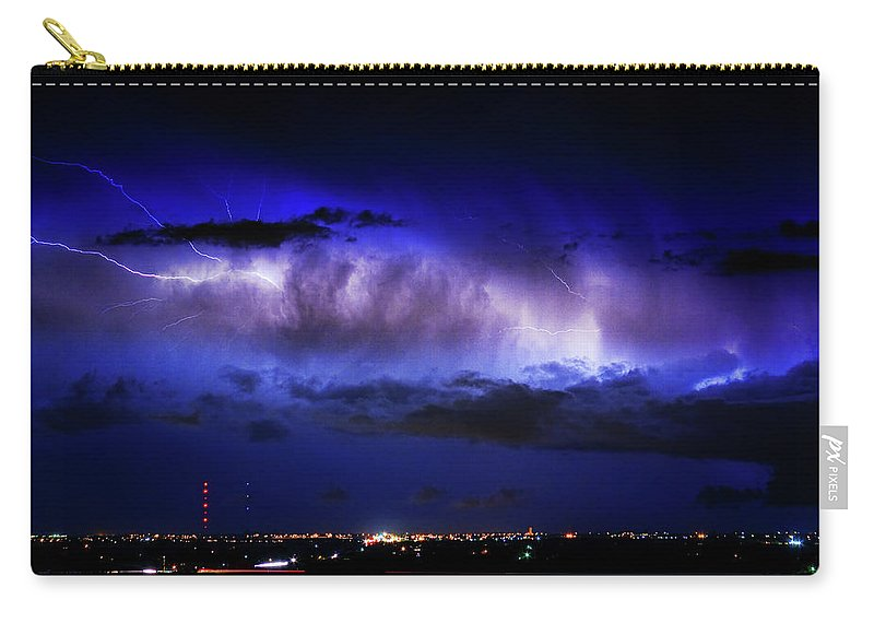 Bouldercounty Carry-all Pouch featuring the photograph Cloud To Cloud Lightning Boulder County Colorado by James BO Insogna