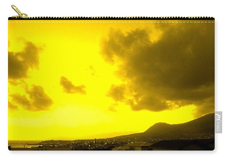 St Kitts Carry-all Pouch featuring the photograph Clouds At Sunset Over Basseterre by Ian MacDonald